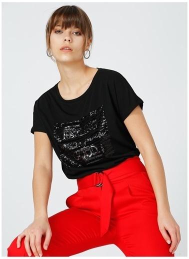 Fabrika Comfort Fabrika Comfort Kadın Siyah Bisiklet Yaka T-Shirt Siyah